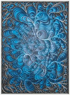 """Stallman (Jason Hallman and Stephen Stum) Coastal Swell, 36x48"""" sculpted canvas and acrylic paint on framed panel The Pacific Northwest based pair calls this body of work """"Canvas on Edge,"""" giving canvas the leading roll within each each piece"""