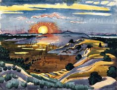 """Hermann Max Pechstein. """"Sunset on the dunes"""" in 1934 Watercolor"""
