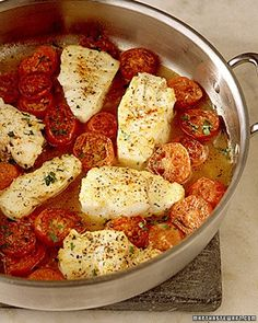 Braised Cod with Plum Tomatoes Coated cod and tomatoes with flour and corn starch and browned before adding liquid and covering to finish cooking. Also added sliced zucchini and red onion to pan. Made great sauce. Excellent!