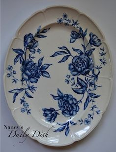 Vintage Blue & White Toile English Transferware Platter with Cabbage Roses