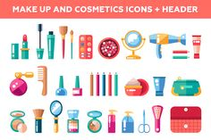 Makeup and Cosmetics Icons + Header by Decorwith.me Shop on Creative Market