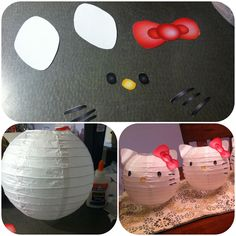 Hello Kitty paper lanterns. Easy to make and inexpensive way to decorate for a party. Made these for my daughter's birthday party.