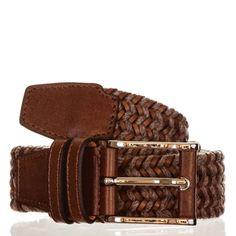 Men's Leather Belt | Two Tone Brown Leather & Wool Woven Belt