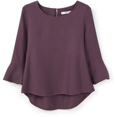Ruffled Sleeve Blouse ($28) ❤ liked on Polyvore featuring tops, blouses, shirts, flutter sleeve blouse, purple top, ruffle blouse, flutter top y long sleeve blouse