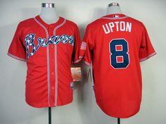 MLB ATLANTA BRAVES #8 UPTON RED(2014 NEW) JERSEY FJ(COOL BASE)