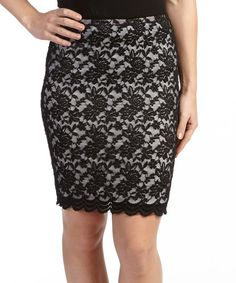 Look at this Black & Ivory Lace A-Line Skirt on #zulily today!