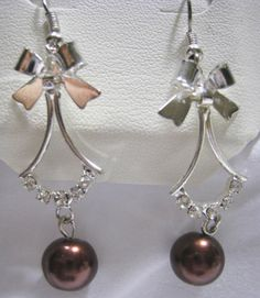 MACY'S Dangling Crystal RS Bronze Bead Bow Earrings NEW Leatherette Jewelry Box