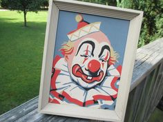SOLD! Mid Century Circus Clown Paint by Number--Framed PBN--Mod Folk Art--Creepy Clown Painting--Retro Art--Sand Colored Wood Frame by AlloftheAbove on Etsy