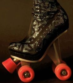 THIGH HIGH SWAROVSKI CRYSTAL LEOPARD PRINT ROLLER SKATES INSPIRED BY KEITH HARING. I'm out. Drops the microphone, hands in the air. Exits the stage.
