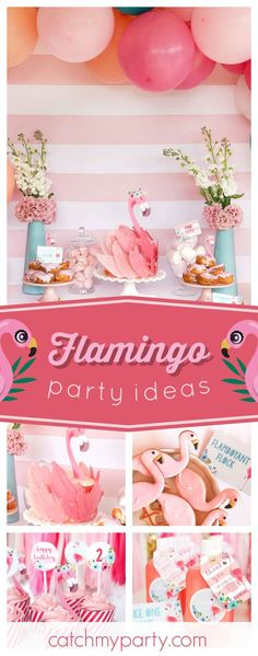 Don't miss this amazing Flamingo birthday party! The flamingo birthday cake is absolutely incredible!! See more party ideas and share yours at CatchMyParty.com #flamingo #birthdaycake