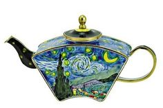 Van Gogh Starry Night Miniature Porcelain Teapot, miniature teapots, unique teapots, vincent van gogh, museum gifts