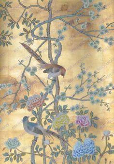 hand painted wallpaper :: chinoiserie wallpaper :: silk wallpaper :: chinese…