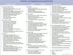 Sensory accommodation suggestion