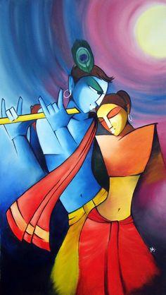 Radha Krishna - Hindu deities by eskay-rautYou can find Hindu art and more on our website.Radha Krishna - Hindu deities by eskay-raut Krishna Hindu, Hindu Deities, Lord Krishna, Zantangle Art, Ganesha Painting, Indian Art Paintings, Oil Paintings, Abstract Paintings, Madhubani Art