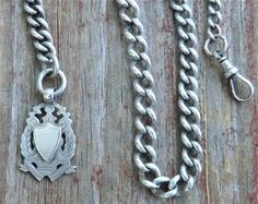 Antique Sterling Pocket Watch Chain & Shield Fob by thecaravancollection