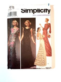 Simplicity 5876 Women's Evening Gown Pattern, 1920s style Retro, Art Deco, Wedding Gown, Bridesmaids, Prom Dress, by DonnaDesigned