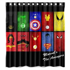 Superheroes Shower Curtain. 11 Awesome Batman Shower Curtains To Add To  Your Bat Cave.