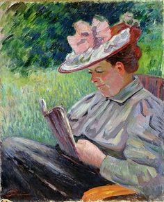 Armand Guillaumin Madame Guillaumin Reading in the Garden hand painted oil painting reproduction on canvas by artist Monet, Georges Seurat, Mary Cassatt, Renoir, Louis Aragon, French Impressionist Painters, Books To Read For Women, Reading Art, Jean Baptiste