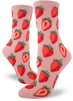 Step into the warmer months with these adorable strawberry Women's Crew Socks that look like you could take a bite right out of them!