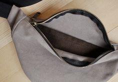 Beige jeans Waist bag money belt hip bag belt bag fanny by NAZVA