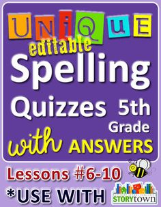 Unique, Editable Spelling Quizzes for 5th grade - Lessons 6-10 w/ answers! Great for 4th graders too!