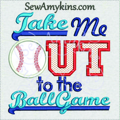 Take Me Out to the Ballgame Baseball Applique machine embroidery design 3 sizes ball game - SewAmykins