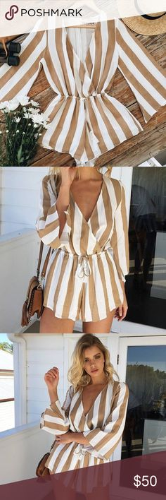 Borderline Striped Playsuit Romper {White/Tan} PRODUCT DESCRIPTION:  Mura Boutique. 1 available in AUS XS {AUS 6}. AUS sizes generally run one US size smaller, so item is listed as XXS. Please see 4th photo for sizing measurements.  DETAILS: White and tan striped playsuit V neckline Button clasp at bust Flare sleeves Elastic band at waist with drawstring tassel detail Hidden zipper at back Lined from waist down  FIT: Regular fit No stretch to fabric 65% Cotton 35% Polyester  MODEL…