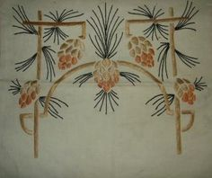 Arts and Crafts pillow cover, embroidered with stylized pinecones