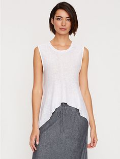 Scoop Neck Short Tank in Lightweight Organic Linen