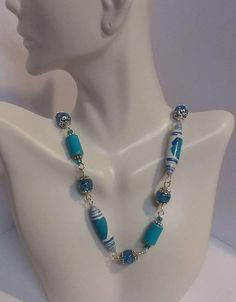 "28 1/2"" Paper Bead Blue and White Necklace"