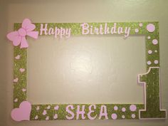 Photo Booth Frame to Take Pictures Pink Gold First Birthday | eBay