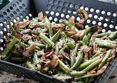 Grilled green beans and mushrooms