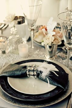 Vintage 40's Black and White table setting