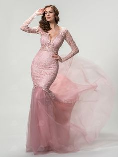 vestidos-rosa-largo-ajustado