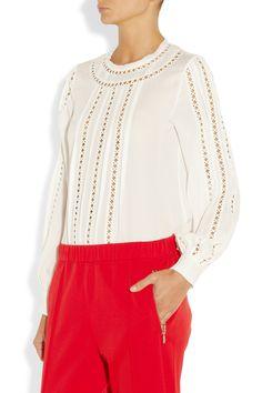 Oscar de la Renta   Embroidered silk-georgette blouse   NET-A-PORTER.COM