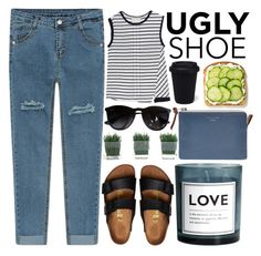 """""""Ugly Shoes - Polyvore Contest"""" by evangeline-lily ❤ liked on Polyvore featuring bleu, Brochu Walker, Birkenstock, H&M, Acne Studios, Ray-Ban, women's clothing, women, female and woman"""