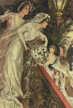 Tossing the bouquet ~ Vintage Victorian illustration.