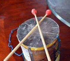 Make a packing tape drum, a fun option for the new crafts & music site!