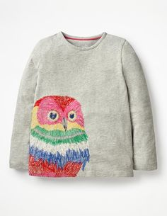 Superstitch Appliqué T-shirt Long Sleeved Tops at Boden Fall Capsule, Vintage Prints, Shirts For Girls, Long Sleeve Tops, Kids Fashion, Applique, Style Inspiration, Sweatshirts, Sweaters