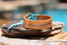 Leather Cuff with Diamond Bar Ultra Soft by HappyGoLuckyJewels
