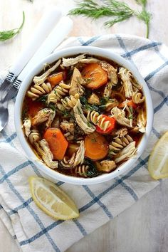Flu Fighter Chicken Noodle Soup - This flavorful, hearty soup is packed with healthy and ingredients and tastes so delicious you'll want it even when you're not sick!