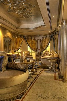 Opulent, ornate living room designed for a palace. Luxury Homes Interior, Luxury Decor, Beautiful Interiors, Beautiful Homes, Elegant Homes, Ceiling Design, Palaces, Luxury Living, My Dream Home