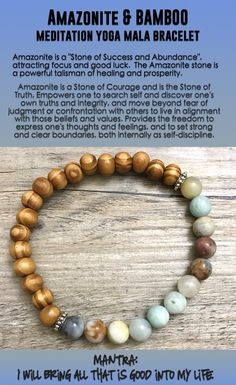 "#Amazonite is a ""Stone of #Success and #Abundance"", attracting #focus and good luck. #Beaded #Beads #Bijoux #Bracelet #Bracelets #Buddhist #Chakra #Charm #Crystals #Energy #gifts #gratitude #Handmade #Healing #Jewelry #Kundalini #LawOfAttraction #LOA #Love #Mala #Meditation #Mens #prayer #pulseiras #Reiki #Spiritual #Stacks #Stretch #Womens #Yoga #YogaBracelets #fertility"
