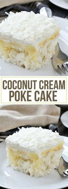 An easy recipe for oist and delicious Coconut Cream Poke Cake. An easy recipe for oist and delicious Coconut Cream Poke Cake filled with coconut cream pudding and topped with a creamy whipped topping. 13 Desserts, Coconut Desserts, Delicious Desserts, Baking Desserts, Health Desserts, Tropical Desserts, Bon Dessert, Low Carb Dessert, Appetizer Dessert