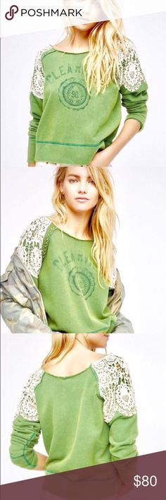 Free People clearview lace off shoulder sweatshirt Free people sweatshirt. New style, just purchased. Pretty light green color with lace and studs. Excellent condition, only worn once! More pictures to follow. Size large , can fit a M-XL. Free People Tops Sweatshirts & Hoodies