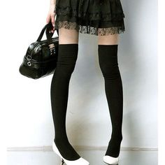 4beb882c568b1 Fashion Cotton Over The Knee Socks Thigh High Stockings Thinner ❤ liked on  Polyvore featuring intimates