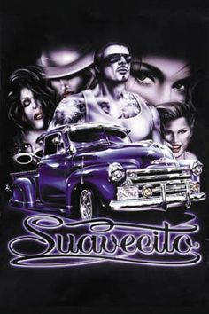 Buy Hot Stuff 8 x 10 in. Suavecito Lowrider Poster Print at UnbeatableSale Lettrage Chicano, Chicano Love, Chicano Drawings, Chicano Tattoos, Lowrider Tattoo, Arte Lowrider, Arte Cholo, Cholo Art, Model Airbrush