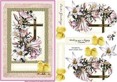 Wishing you a happy Easter on Craftsuprint designed by Bodil Lundahl - Here is an easter card in soft colours with beautiful vintage flowers and a fine cross. The layered sentiment tag has two cute chicks attached. A really cute and quick made easter card. - Now available for download!
