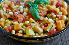 Grilled Corn, Peach & Basil Salsa #summer #salsa