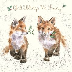 Wrendale Designs 'Good Tidings We Bring' Greeting Card - Set of Three Watercolor Christmas Cards, Christmas Drawing, Christmas Greeting Cards, Fox Drawing, Painting & Drawing, Animals Watercolor, Fuchs Baby, Christmas Scarf, Christmas Christmas